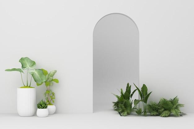Minimalistyczny biały łuk z wieloma roślinami zdobi renderowanie 3d