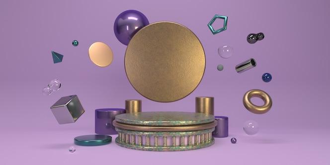 Minimalistyczny fioletowy zestaw studyjny z podium i latającymi geometrycznymi kształtami