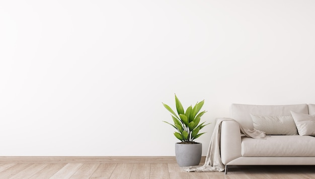 Minimalistyczny, jasny projekt salonu z białą sofą i roślinami