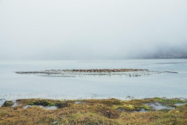 Minimalistyczny jesienny krajobraz z pstrokatymi trawami i mchami w pobliżu górskiego jeziora w gęstej mgle. minimalny widok z mchem i trawą w pobliżu wody w gęstej mgle w deszczową pogodę. słaba widoczność w górskiej dolinie