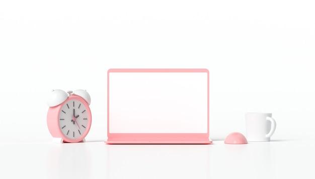Minimalistyczny laptop z pustym białym ekranem i budzikiem
