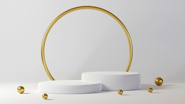 Minimalistyczny luksusowy biały projekt podium w kształcie butli w tle białej ściany betonowej