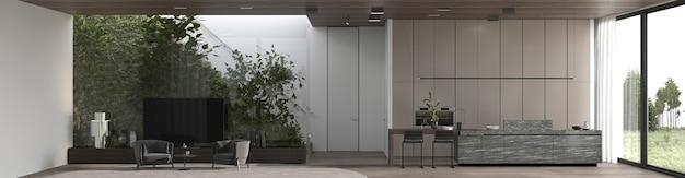 Minimalistyczny luksusowy wystrój wnętrz salon z panoramicznym widokiem tła 3d renderowania ilustracji.