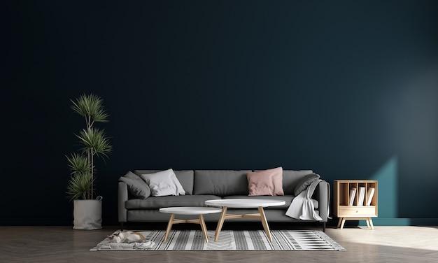 Minimalistyczny niebieski wystrój wnętrza salonu z dekoracją i pustą makietą ścienną w tle, renderowanie 3d, ilustracja 3d