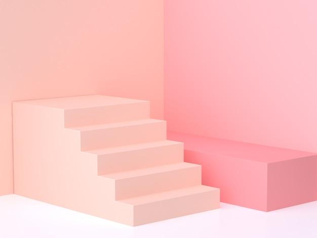 Minimalistyczny pastelowy różowo-kremowy ścienny narożny schody podium renderingu 3d