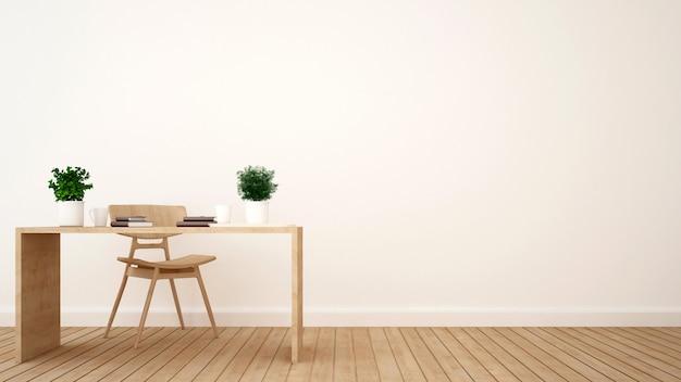Minimalistyczny projekt obszaru roboczego lub kawiarni - renderowanie 3d