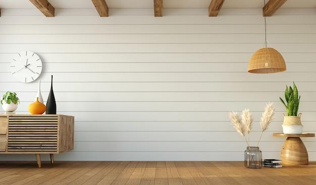 Minimalistyczny projekt salonu z kredensem po jednej stronie i trawą pampasową po drugiej i pustą ścianą pośrodku, renderowanie 3d