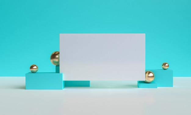 Minimalistyczny prymitywny niebieski geometryczne tło abstrakcyjne, stylowa modna ilustracja podium, stojak, prezentacja w pastelowym kolorze dla produktu premium. renderowania 3d.