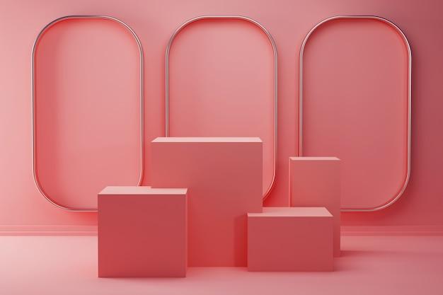Minimalistyczny różowy produkt na podium z linią stalową w tle