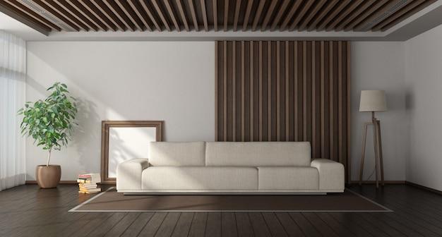 Minimalistyczny salon z drewnianymi panelami