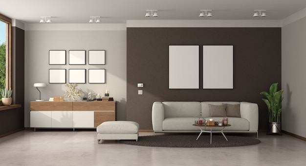 Minimalistyczny salon z nowoczesną sofą i kredensem
