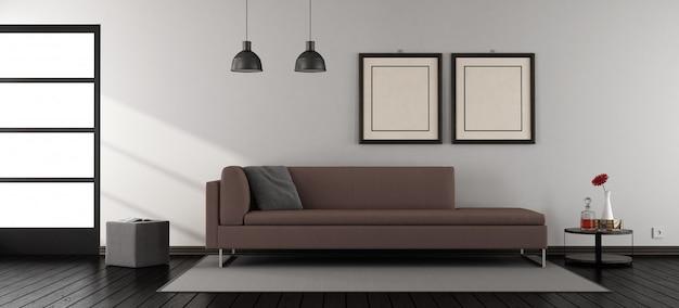 Minimalistyczny salon z sofą