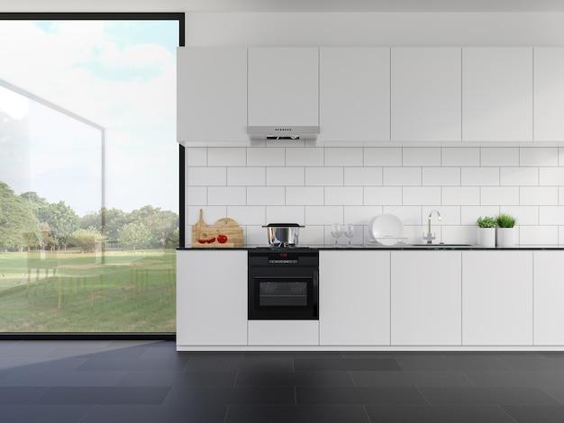 Minimalistyczny styl biały blat kuchenny z widokiem natury 3d render