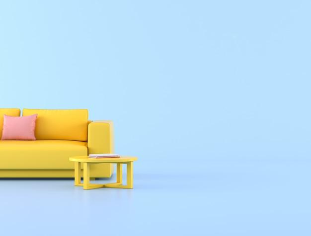 Minimalistyczny styl żółtej sofy i różowej poduszki
