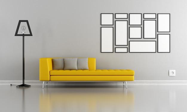 Minimalistyczny szary i żółty salon