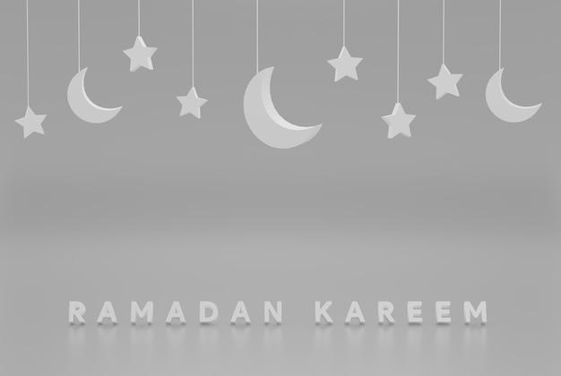 Minimalistyczny szary tło z gwiazdami i półksiężycem na imprezy, święta itp. ilustracja 3d