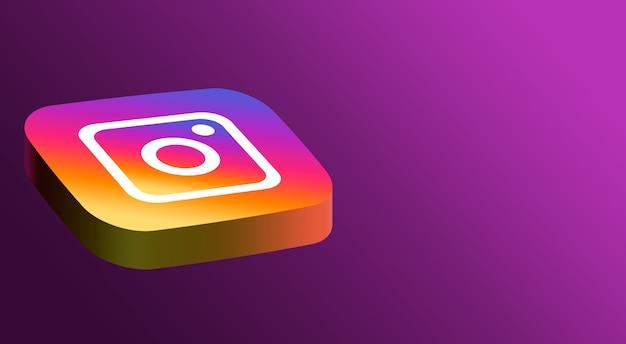 Minimalistyczny wygląd logo instagram 3d