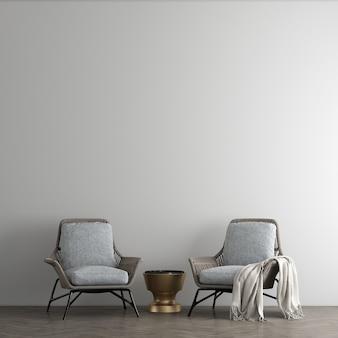 Minimalistyczny wystrój wnętrz i salonu oraz pusta betonowa ściana