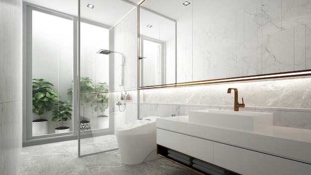 Minimalistyczny wystrój wnętrz łazienki i białej toalety i umywalki renderowania 3d