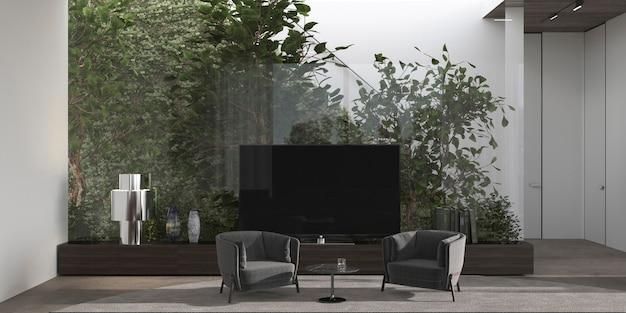 Minimalistyczny wystrój wnętrz salon z roślinami za szklaną zieloną ścianą 3d renderowania ilustracji.