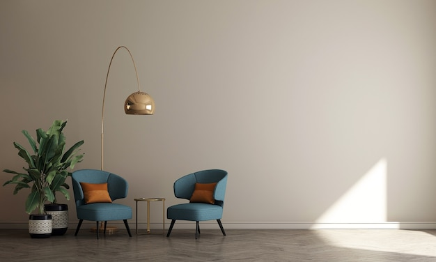 Minimalistyczny wystrój wnętrza salonu i beżowej ściany w tle, renderowanie 3d