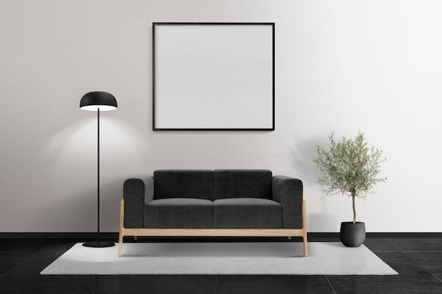 Minimalistyczny wystrój wnętrza salonu z pustą ramą