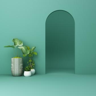 Minimalistyczny zielony łuk z roślinami