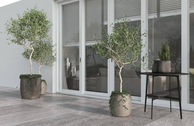 Minimalizm nowoczesna architektura projektuje światło słoneczne i biały kolor z dużym oknem. sadzi drzewa oliwne, stół i donice. renderowanie 3d. ilustracja 3d.
