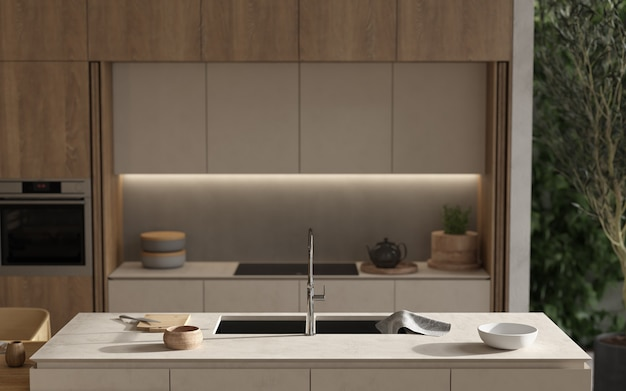 Minimalizm nowoczesne wnętrze skandynawskie wzornictwo. studio salon, kuchnia i jadalnia. kompozycja dekoracyjna z drewnianą kuchnią, wyspą kuchenną, zielonymi roślinami i naczyniami. renderowania 3d. ilustracja 3d.