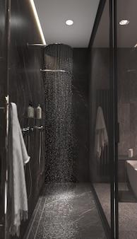 Minimalizm nowoczesny wystrój łazienki ze szklaną przegrodą.