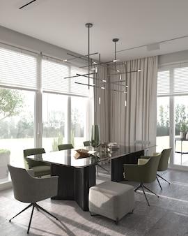 Minimalizm nowoczesny wystrój wnętrz. jadalnia studio z luksusowym stołem i zielonymi krzesłami. renderowanie 3d. ilustracja 3d.