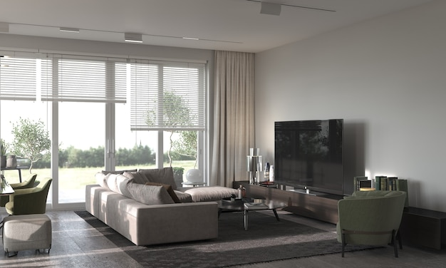 Minimalizm nowoczesny wystrój wnętrz. salon studio z sofą, fotelem, wykładziną oraz strefą tv. renderowanie 3d. ilustracja 3d.