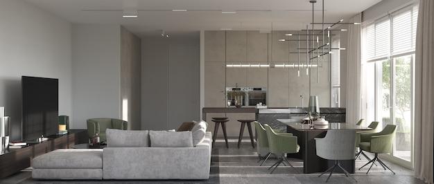 Minimalizm nowoczesny wystrój wnętrz. studio salon, kuchnia i jadalnia. renderowanie 3d. ilustracja 3d.