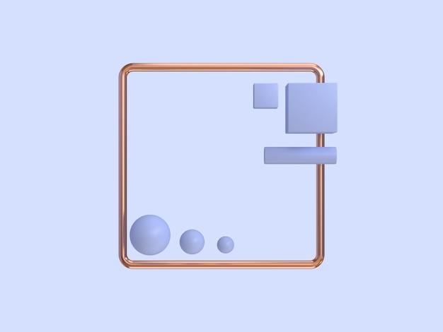 Minimalna abstrakcyjna fioletowo-fioletowa miedziana rama geometryczny kształt renderingu 3d