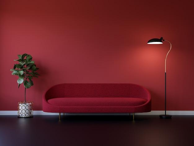 Minimalna czerwona sofa z lampą i rośliną w pustej czerwonej ścianie