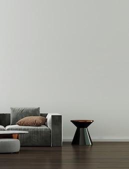 Minimalna dekoracja sofy i wnętrze salonu oraz puste tło wzoru ściany