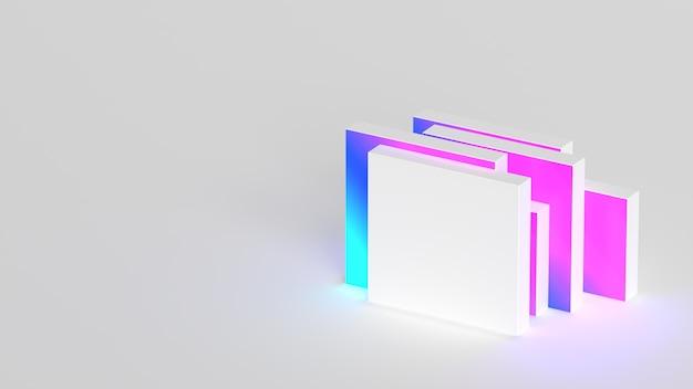 Minimalna kompozycja abstrakcyjna białe kształty gradientowe nowoczesne renderowanie 3d