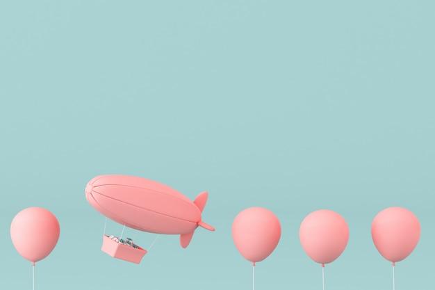 Minimalna koncepcja balonów i sterowca z prezentem w koszu na pastelowym tle. renderowanie 3d.