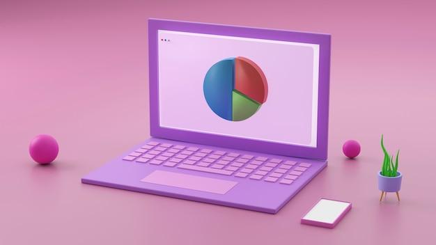 Minimalna koncepcja, laptop na stole biurko w kolorze ró?owym i fioletowym i makiety na tekst z notebooka i fili?anki. renderowania 3d. -ilustracja