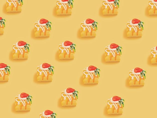 Minimalna koncepcja. modny wzór candy wykonany z różnych jasnożółtych cukierków
