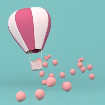 Minimalna koncepcja pływających balonów i plecionego kosza, wypuść różowe balony. renderowanie 3d.