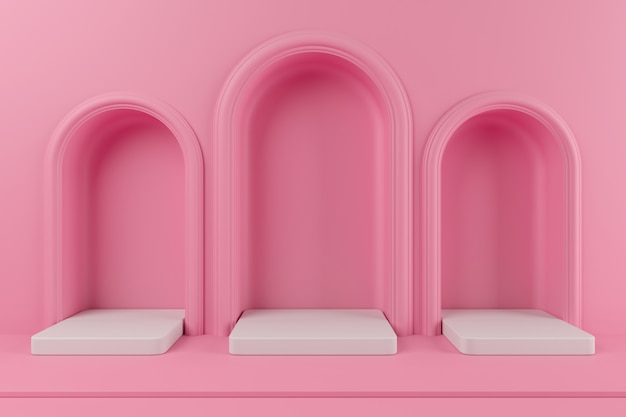 Minimalna koncepcja podium w kolorze różowym i biała platforma kolorów dla produktu. renderowania 3d.