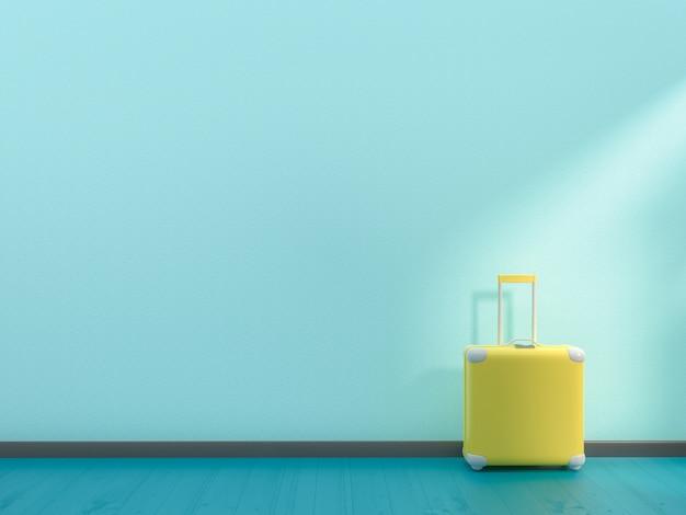 Minimalna koncepcja pomysłu. żółty kolor walizki