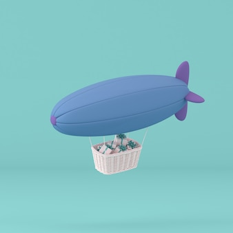 Minimalna koncepcja sterowca i pudełko w pastelowym tle. renderowanie 3d.