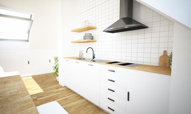 Minimalna kuchnia na poddaszu z tyłu