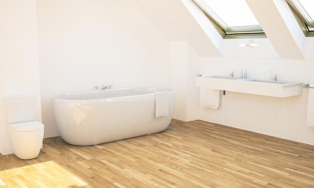 Minimalna łazienka na poddaszu