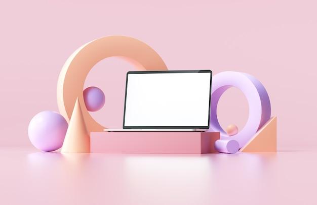 Minimalna makieta laptopa z abstrakcyjnymi geometrycznymi kształtami na różowym tle