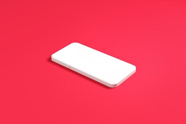 Minimalna makieta smartfonów mobilnych z pustymi wyświetlaczami do prezentacji na różowym tle