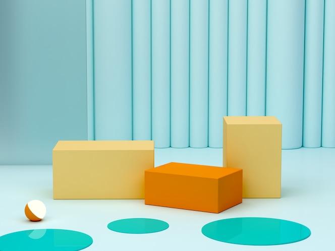 Minimalna niebieska scena z podium i abstrakcyjnym tłem kształt geometryczny scena w pastelowych kolorach minimalne renderowanie 3d scena z geometrycznymi żółtymi i pomarańczowymi formami renderowanie 3d