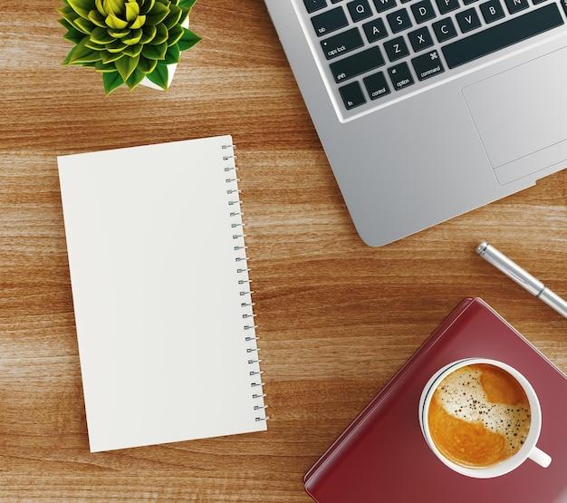 Minimalna przestrzeń do pracy - kreatywne płaskie zdjęcie biurka do pracy. widok z góry biurko z laptopem, notebookami i filiżanką kawy na drewnianym stole. renderowanie 3d